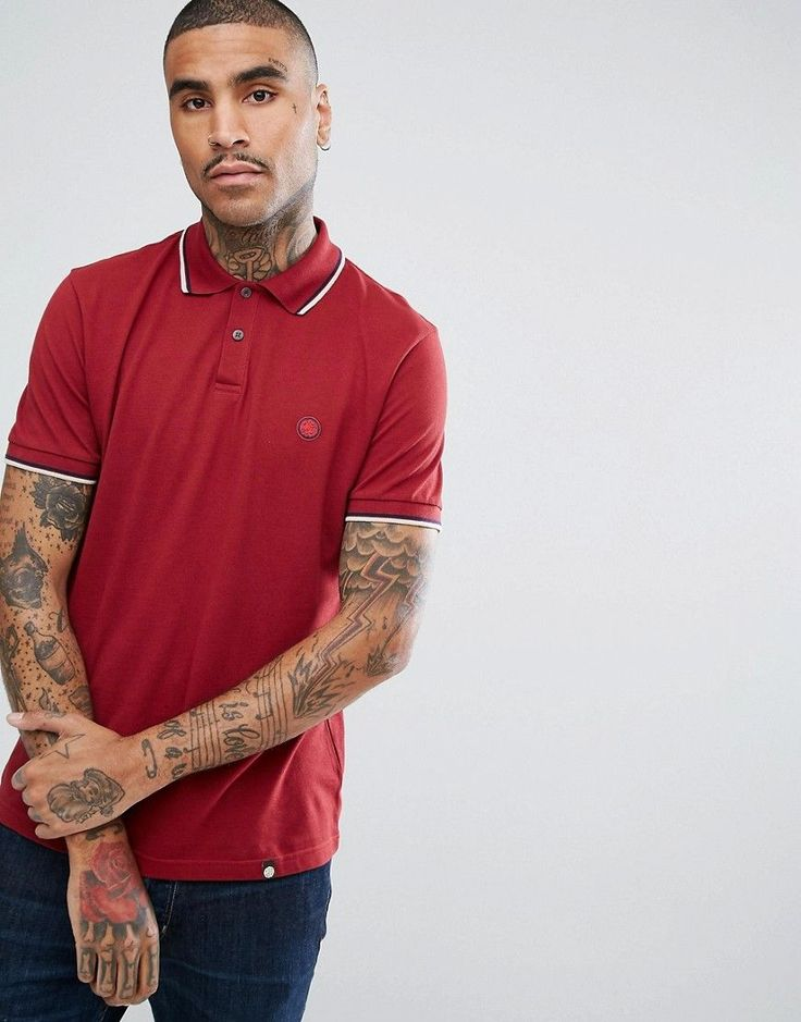 Pretty Green Barton Short Sleeve Tipped Polo Shirt In Red - Red
