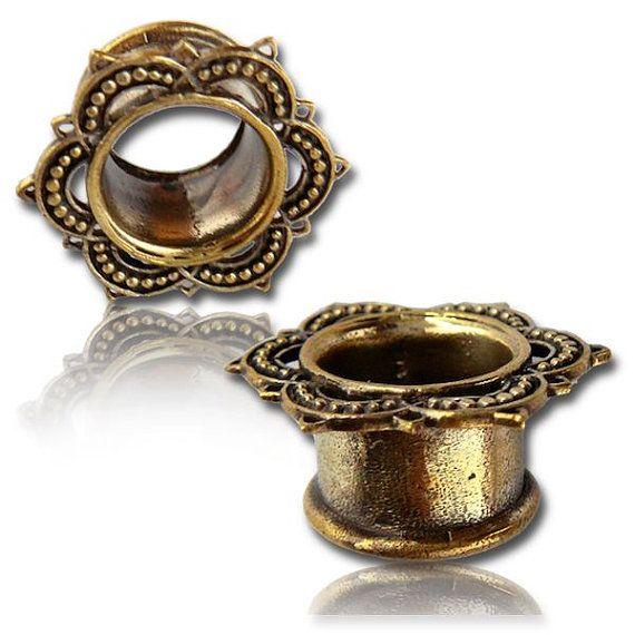 Lotus Brass ear tunnels plugs,brass plugs,gauge jewelry ,lotus ear gauge jewelry…