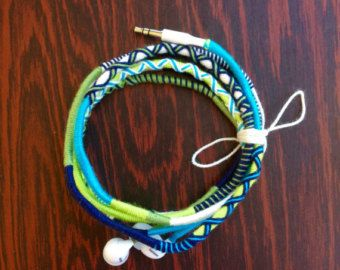 Wrapped Colorful Earbuds with mic Handwrapped by JustALittleBead
