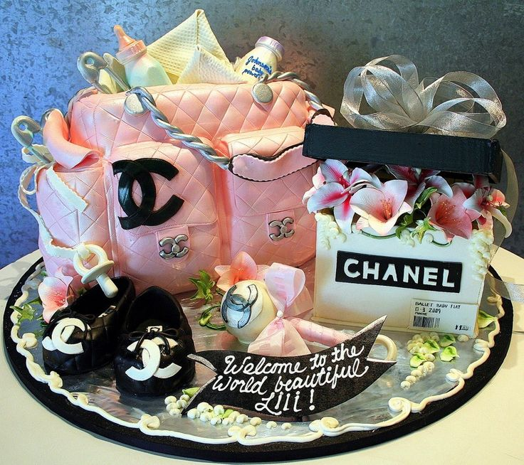 beautiful chanel baby shower diaper bag cake
