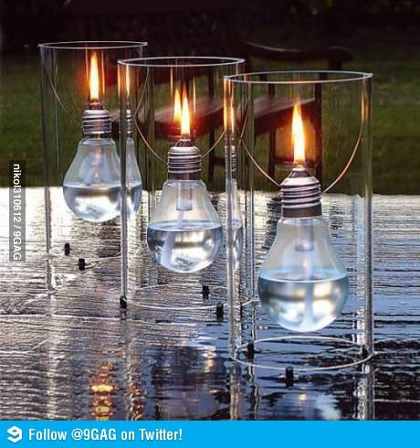 Candle lights from light bulbs.