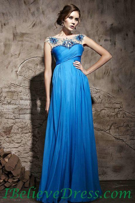 Chiffon Cap Sleeves Maternity Evening Dresses Blue Cheap For Sale,Chiffon Cap Sleeves Maternity Evening Dresses Blue Cheap For Sale - Selena...