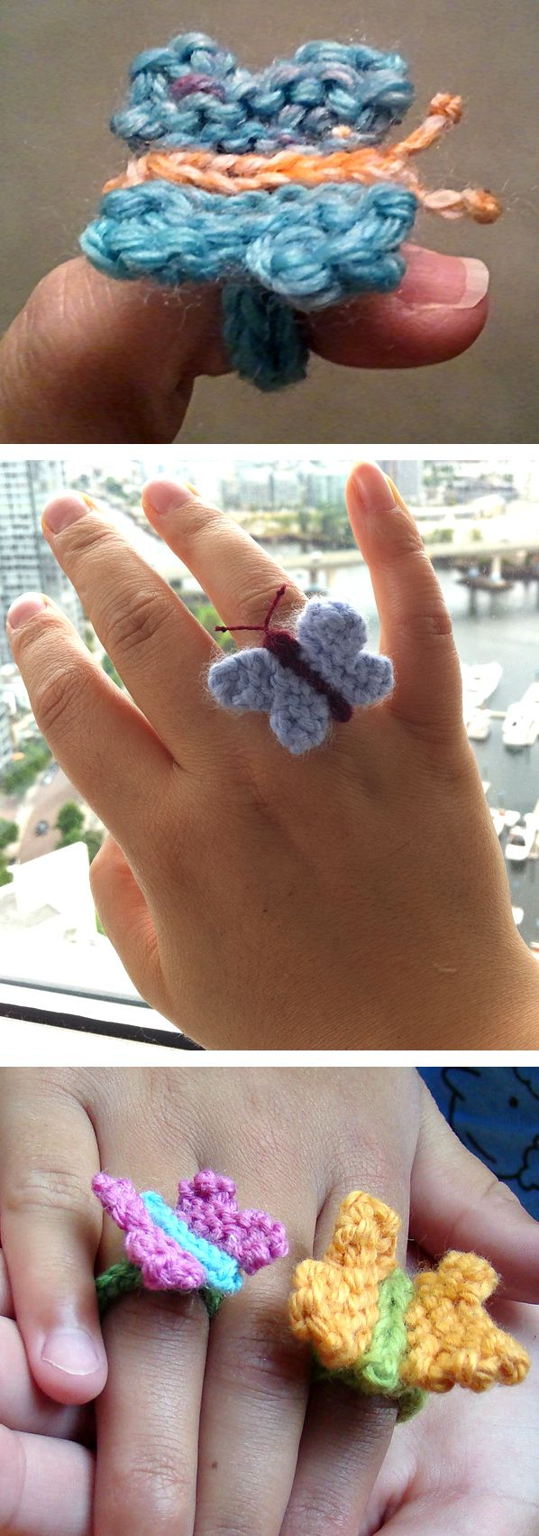 Free Knitting Pattern for Easy Butterfly Ring - A tiny butterfly about 1 inch in size adorns an i-cord ring. Designed by Susan B. Anderson. Rated easy by most Ravelrers. Pictured projects bysumaq and knittingwithwords.