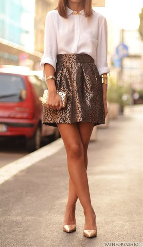Neutrally classic blouse + skirt brocade coffee