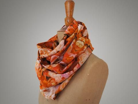 Handmade Pink Roses Infinity Scarf from maxandrosie.co.uk