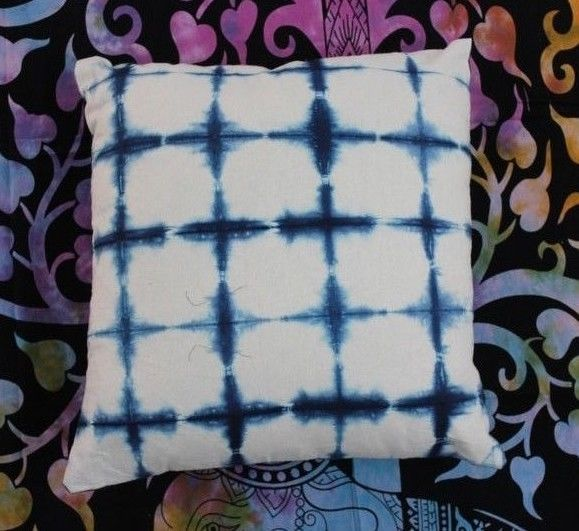 Indigo Blue Tie Dye Shibori Print Cotton Cushion Cover Hand Printed Pillow Case #KhushiHandicraft #ArtsCrafts