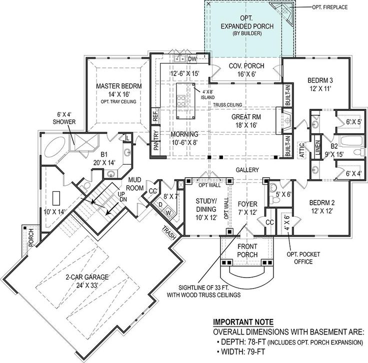 Plan 14632rk Rugged Craftsman With Room Over Garage: 106-1276: Floor Plan Main Level