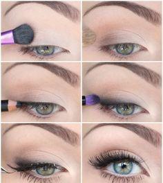 Auch ein fast farbloses Augen Make-up eignet sich sehr gut
