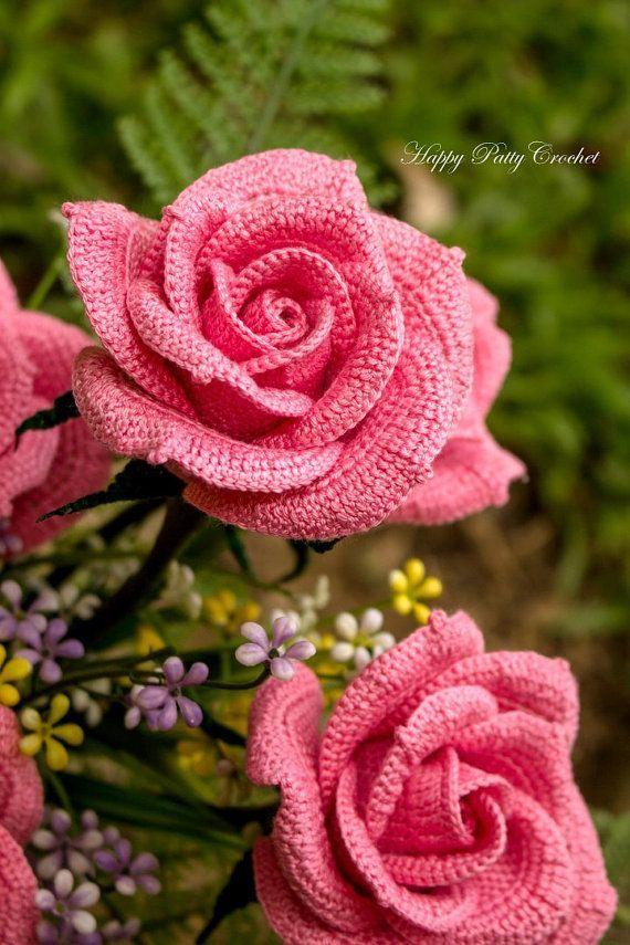 Crochet Pattern Rose - Patrón de la flor del ganchillo de Ramos y arreglos florales - patrón de flores de ganchillo - Patrón PDF