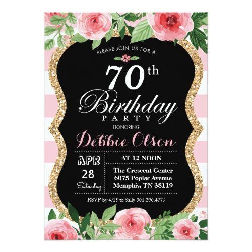 Watercolor Birthday Invitations 70th Birthday Pink Watercolor Invitation
