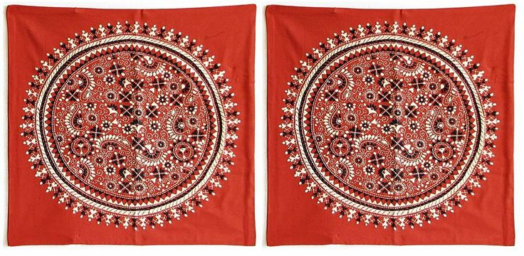 Two Pieces Kantha Stitch Rust Cushion Covers (Cotton)