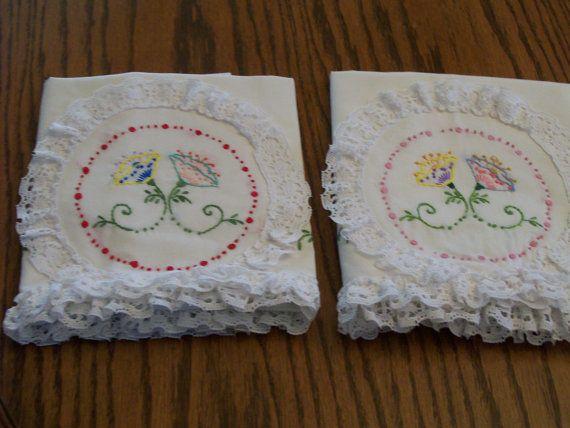 Shabby chique kussensloop Vintage borduren kussen zaak Set van 2 met kant