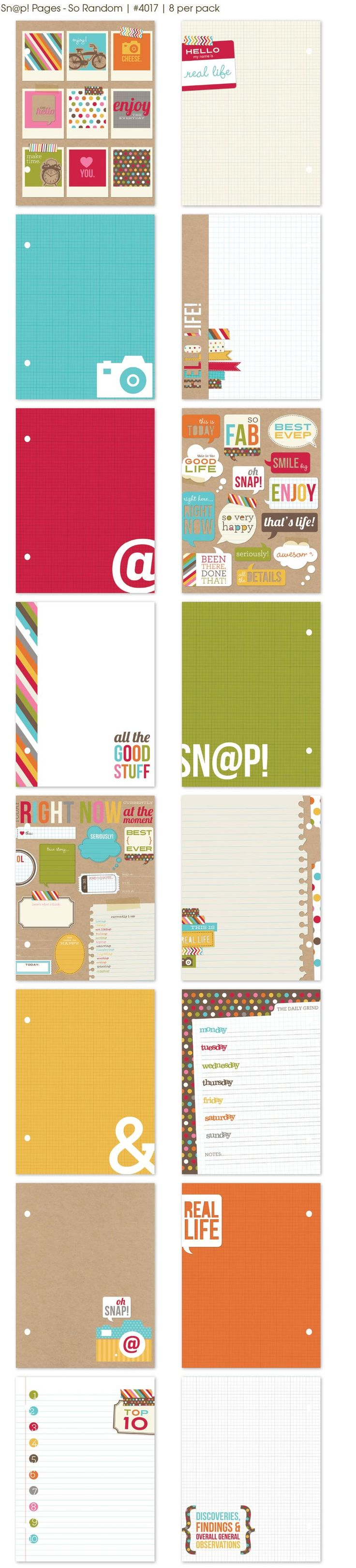 Sn@p! Pages - So Random - 8 per pack