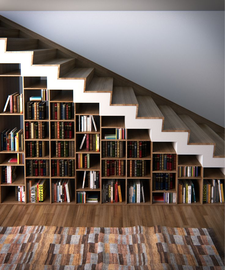 Bookshelf stair design