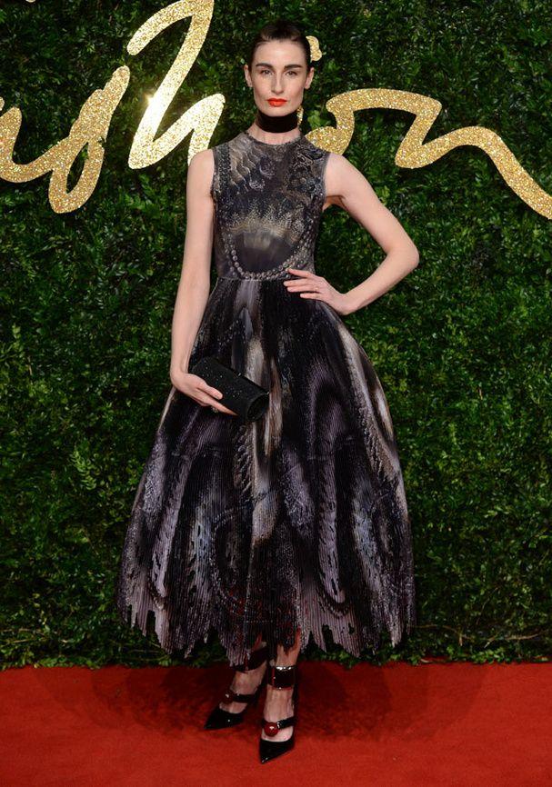 Erin O'Connor aux British Fashion Awards 2015