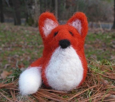 Needle felt this sweet foxy fellow in about an hour with our Fox Kit. This kit contains enough wool roving to create one fox, and includes instructions, 1 felting needle, and 1 skewer.