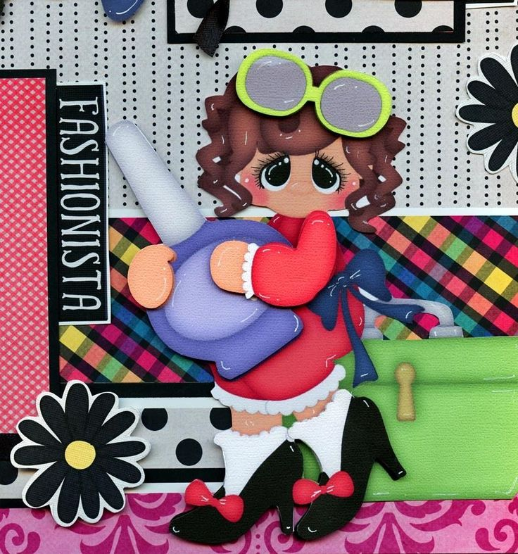 2 12x12 premade scrapbook pages. ~ Little Diva ~ ( girl ). Adorable 3D art has been printed, hand cut, and made 3d with foam squares. These completed two pages are as the pictures shows … no customization is possible. | eBay!