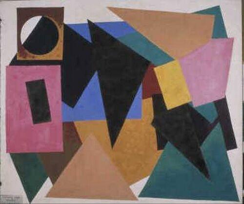 Man Ray - Mon Premier amour (1952)  'Mon Premier Amour' is een van de grotere schilderijen van Man Ray uit de vroege jaren 50. Daarnaast is het ook een zeldzaam voorbeeld van geometrische abstractie in het oeuvre van deze kunstenaar. Het model van het schilderij is geïnspireerd op collages van gekleurd papier en airbrushschilderingen. Die laatste techniek gebruikte hij vooral in de periode tussen 1917 en 1920.