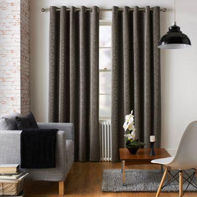 Jeff Banks Home Ennerdale Charcoal Eyelet Heading Lined Curtains-   Debenhams