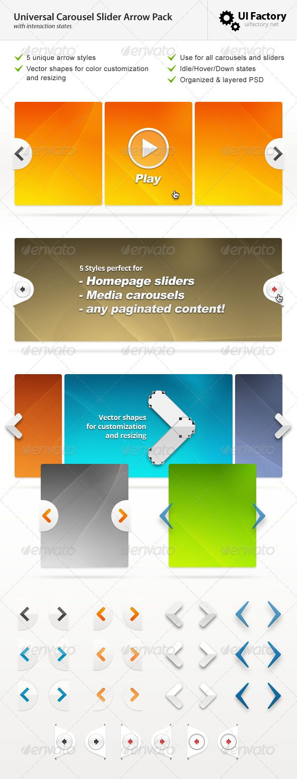 Universal Carousel Slider Arrow Pack - GraphicRiver