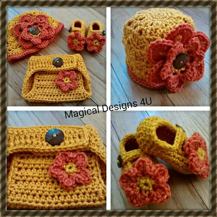 Diaper Cover Set w/ matching mary janes and large flower cloche. Size 0-3mos