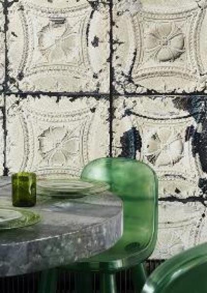 AMERICAN TIN TILES WALLPAPER IVORY AND BLACK - Abigail Ahern