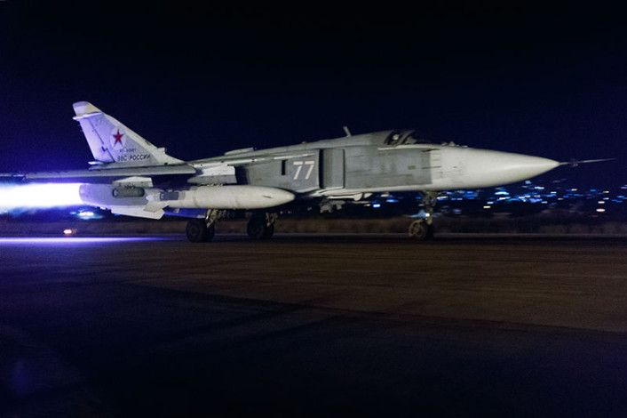 Su-24 night launch. Released by the Russian MoD, the pictures in this post show Sukhoi Su-24 Fencer and Su-34 Fullback attack planes taking off from Latakia airbase, in western Syria, for night air strikes