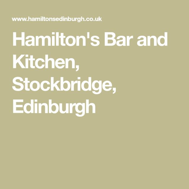 Hamilton's Bar and Kitchen, Stockbridge, Edinburgh