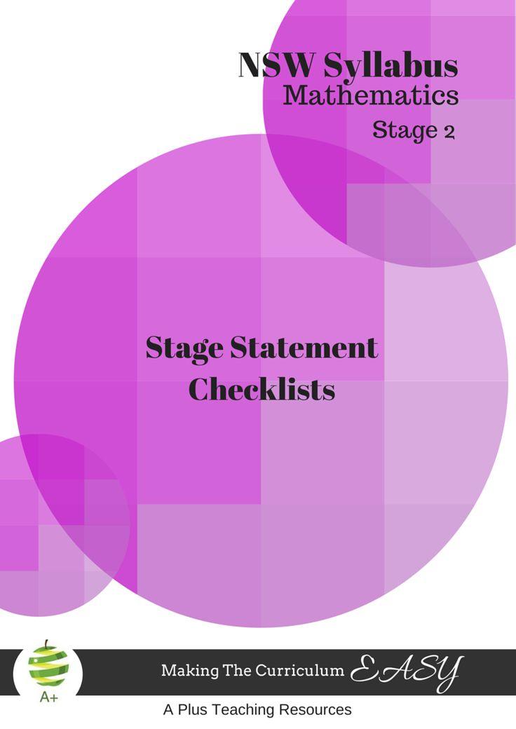 Designed by Teachers » NSW Syllabus MATHS Stage Statement Checklists – Stage 2