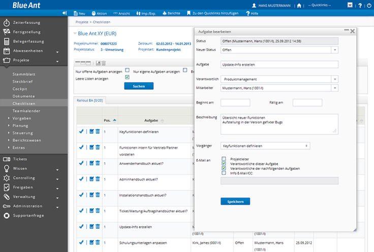 Projekt Checklisten mit Blue Ant Projektmanagement Software  #project #management# software