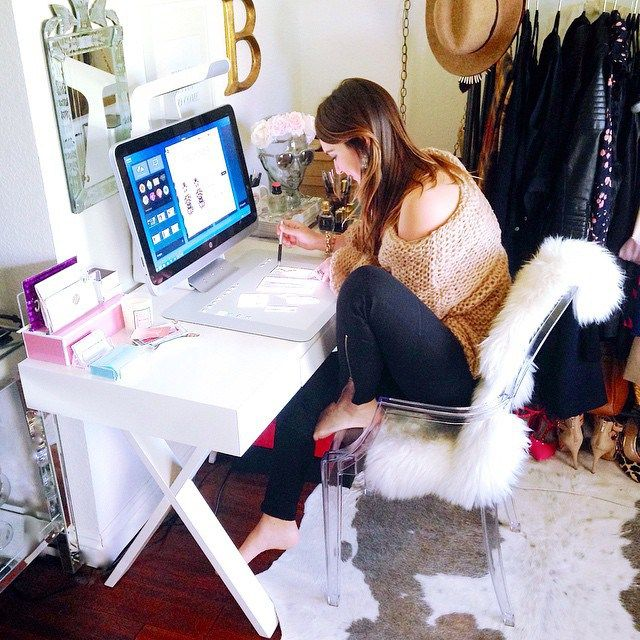 Feminine Desk Design   White with Pastel Accents & a Textured Chair Material