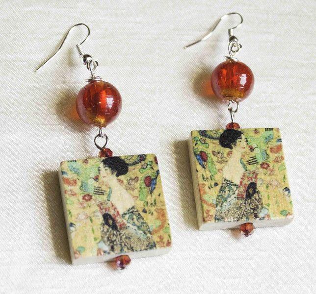 Wooden+Jewelry++Handcrafted+Vintage+Earring+from+Unikacreazioni+by+DaWanda.com