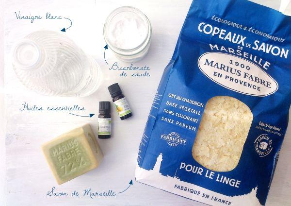 Ma lessive maison (au savon de Marseille, vinaigre blanc, bicarbonate de soude et huile essentielle)
