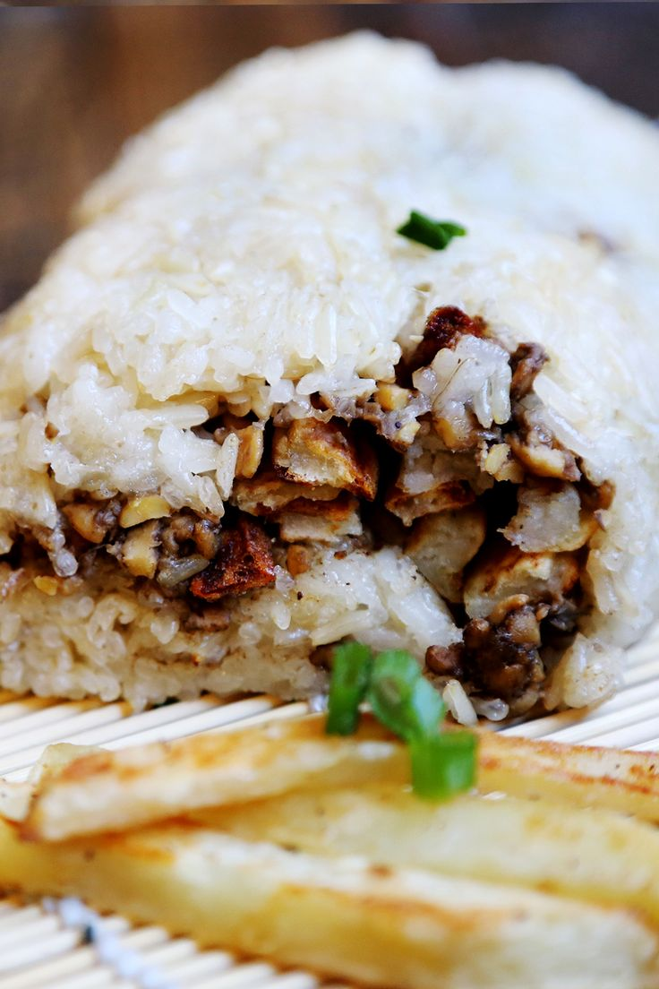 Sticky Rice Roll (Fan Tuan) with Crispy French Fries (GF)