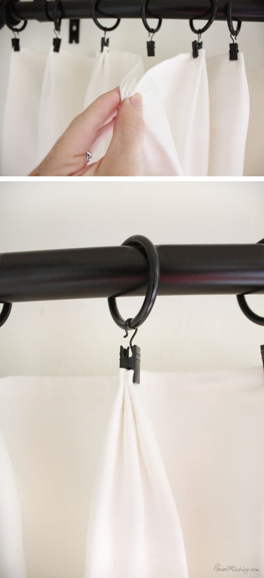 Pom pom curtains and curtain tricks you might not know. Fake pleats... I like curtain rings because they are easy to slide back and forth. My mom taught me this little trick, to gather the fabric in a little pleat before clipping on the ring. It's an easy detail to make your curtains look more custom.