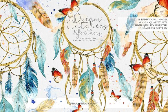DreamCatchers and Feathers by frou frou on @creativemarket https://crmrkt.com/13EX5