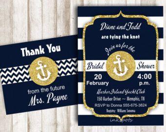 Náutico ducha nupcial invita para imprimir despedida de soltera invitación Marina y ducha oro invitamos a ancla invitación invitación náutica BSNA02