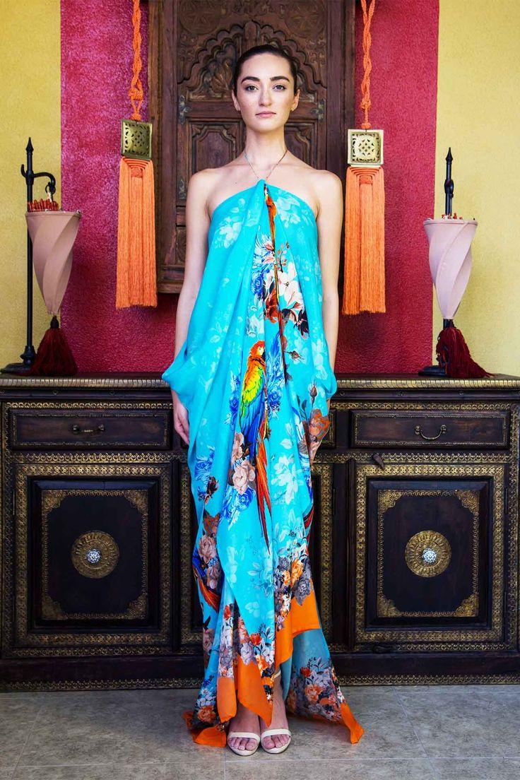 Orange Tropical Print Long Kaftan Dress - Designer Women's Clothing - Shahida Parides