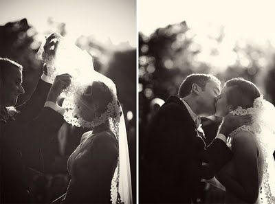 This gorgeous bride wore a veil over her face throughout the wedding ceremony. At the end, the groom lifted it to kiss her. How lovely and old-fashioned.
