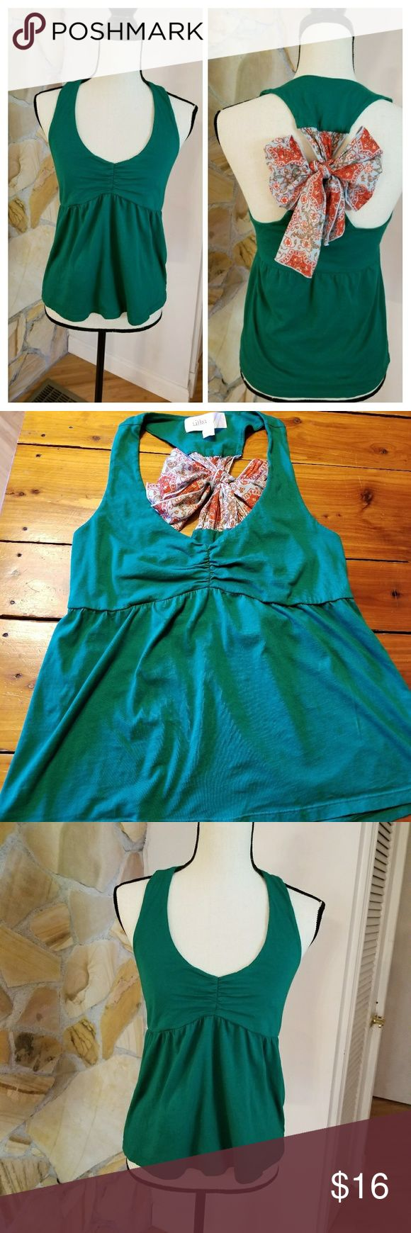 "Lilka bow back tank Green racer back with floral ribbon to style and adjust your own bow.  100% cotton. •Armpit to Armpit:  16"" •Length:  23"" Anthropologie Tops Tank Tops"