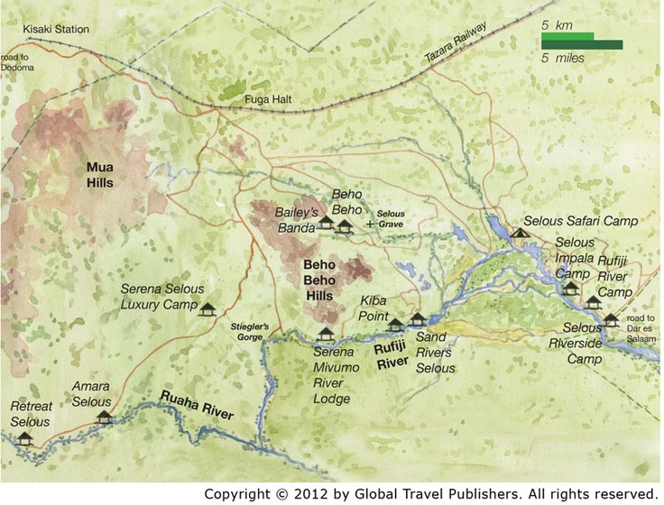 Map of Selous Game Reserve Game reserve, Africa