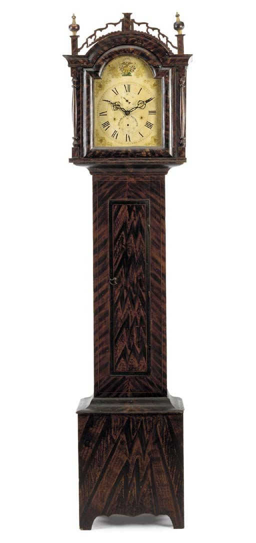 A GRAIN-PAINTED PINE FEDERAL TALL-CASE CLOCK - DIAL SIGNED BY SILAS HOADLEY (1786-1870), PLYMOUTH, CONNECTICUT, CIRCA 1820