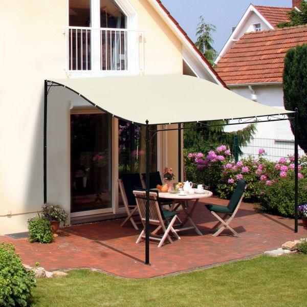 Outsunny 10 X10 Steel Gazebo Canopy Patio Outdoor Portable Sun Shelter Door Porch Cover Cream White Aosom Ca Outdoor Pergola Patio Gazebo Pergola Patio