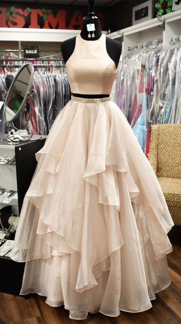 2018 simply two piece long prom dress, peach prom dress, princess two piece pink long prom dress