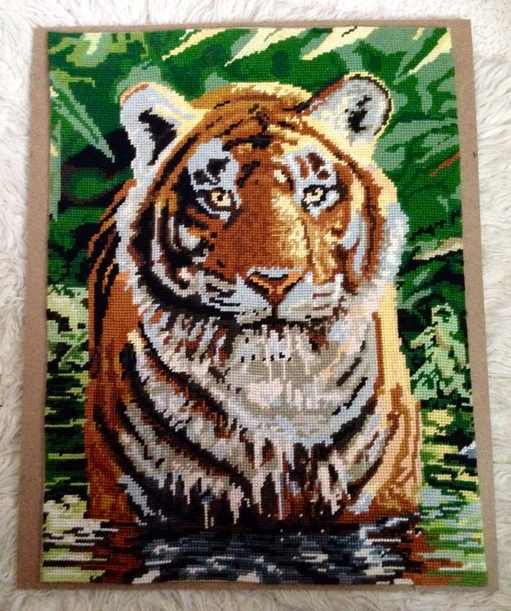 Tiger Tapestry by needlepoint. My first ever Tapestry.by craftypaulaa.