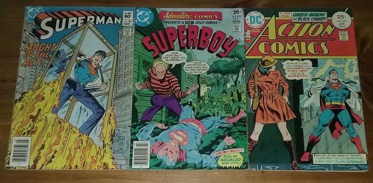 Lot of 3 Superman Comic Books Action Comics Superboy Bronze Age Lex Luthor Arrow