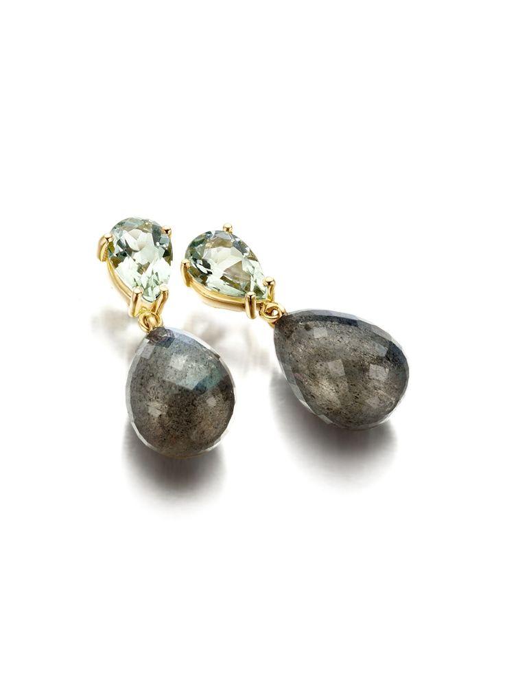 Gouden oorbellen met aquamarijn en labradoriet | Veerman Juwelen