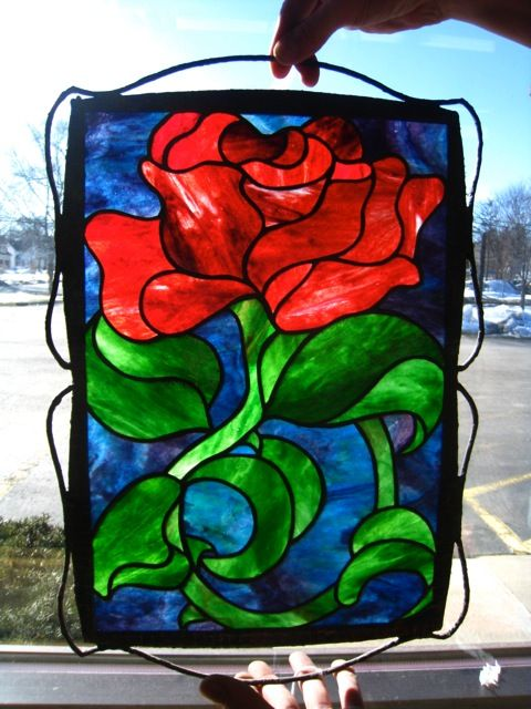 Art Glass Rose from Gilbertson's Stained Glass Studio in Lake Geneva.
