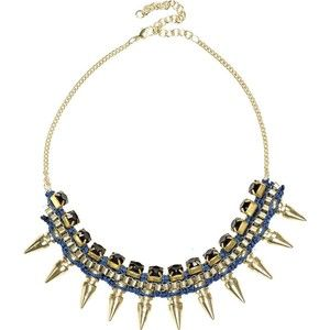 River Island Blue cord wrapped spike necklace