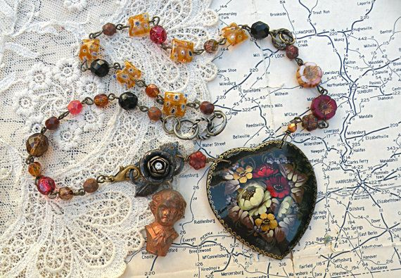 mommas boy necklace russian lacquer floral heart assemblage upcycle vintage pin czech flowers